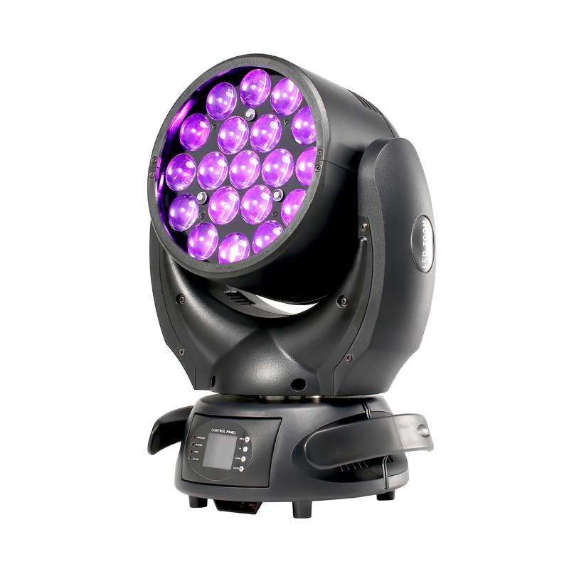 Grande vente Lyre 19*15W 4IN1 RGBW zoom LED tête mobile lavage lumière DJ scène éclairage pour événement fête effet DISCO