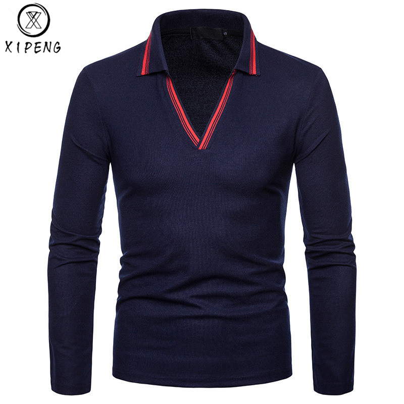 Fashion V-neck Striped   Polo   Shirt Men Long Sleeve Turn-down Collar Camisa   Polos   Homme Solid Color Mens Breathable   Polo   Shirts
