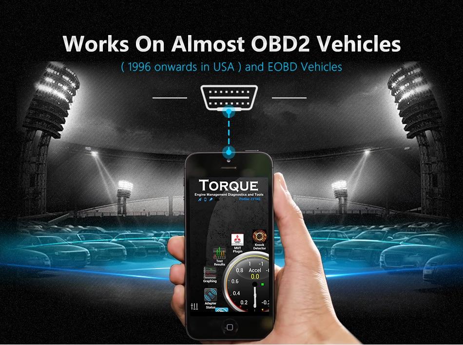 HTB17UvdaiHrK1Rjy0Flq6AsaFXag OBD2 ELM327 V1.5 Bluetooth/WIFI Car Diagnostic Tool ELM 327 OBD Code Reader Chip PIC18F25K80 Work Android/IOS/Windows 12V Car