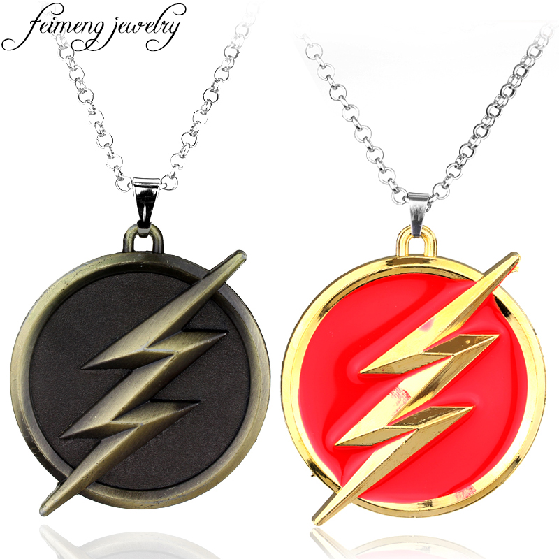 feimeng jewelry Superhero The Flash Necklace Red Golden Super Hero Lightning Logo Pendant Necklace For Women