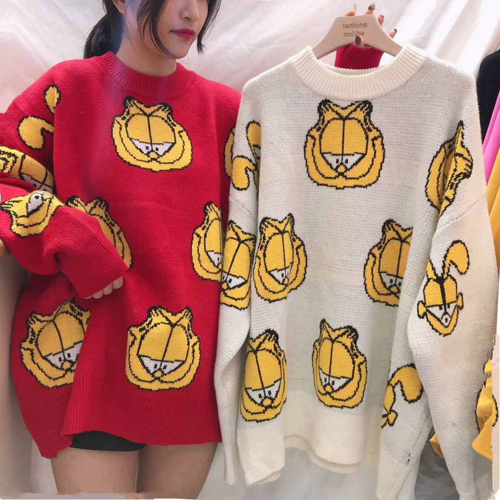 Autumn 2018 Korean women long knitted sweater cute Garfield O Neck thick loose pullover High quality Pull Femme Sueter mujer
