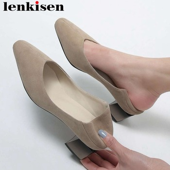 2019 British elegant lady solid kid usede chunky med heels woman dress pumps classic square toe slip on dating party shoes L77