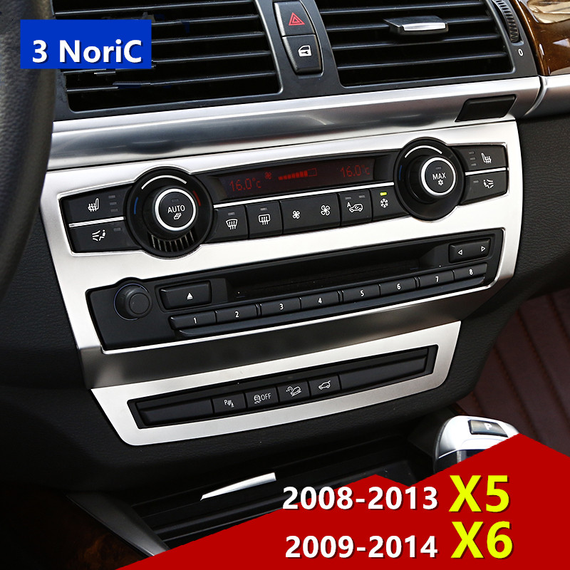 0188bfc78fb Middle Console CD Panel Frame Decorative Cover Trim Stainless Steel Car Interior  Accessories Sticker For BMW X5 E70 X6 E71
