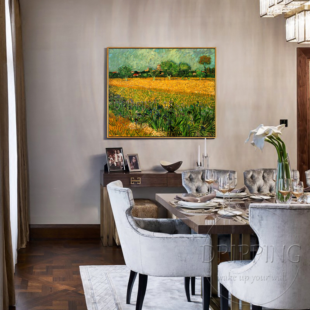 Skilled Artist Hand painted High Quality Impression Landscape Van Gogh View of Arles with Irises in the Foreground Oil Painting in Painting Calligraphy from Home Garden