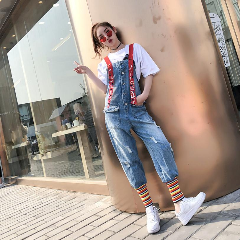Summer New Thailand Fashion Brand Rainbow Sequins Strap Jeans Playsuits female Loose Red Strap street style denim jumsuits L212 ...