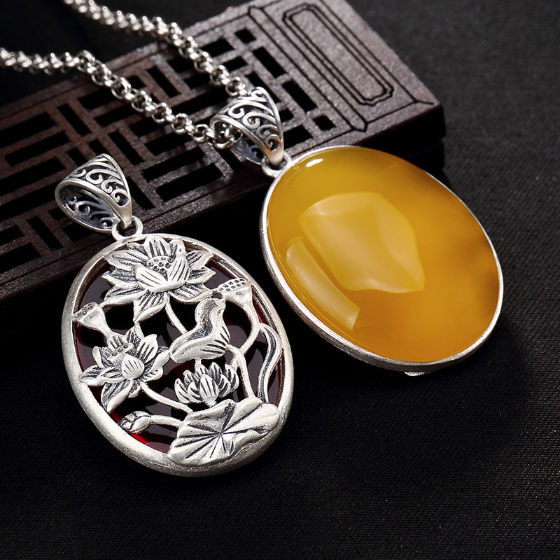 2018 Retro 100% 925 Silver Sterling Royal Natural Stones Pendant Necklace Jewelry For Women Vintage2018 Retro 100% 925 Silver Sterling Royal Natural Stones Pendant Necklace Jewelry For Women Vintage