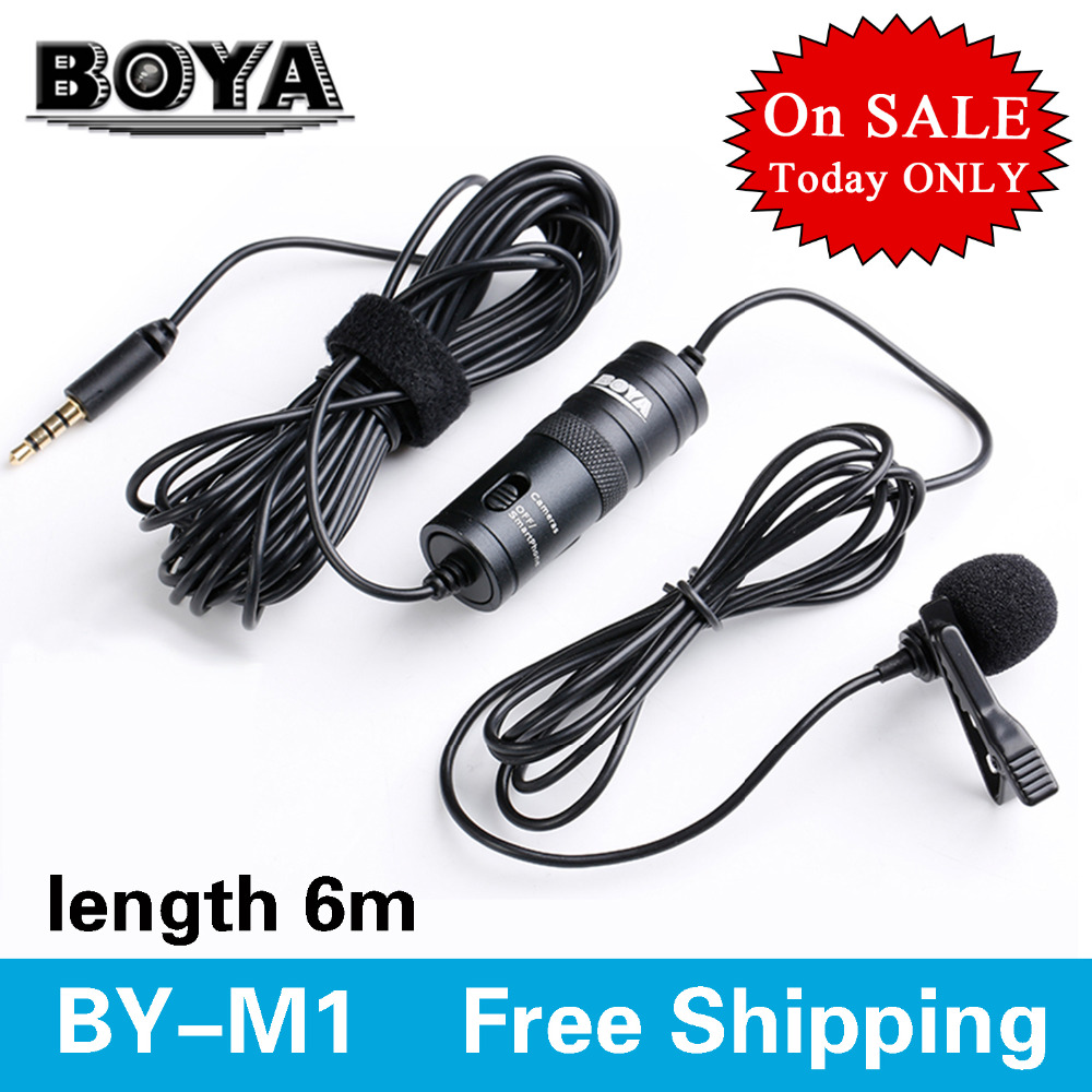 BOYA Omnidirectional Camera Lavalier Microphone for Canon Nikon Sony iPhone 6 Plus 5 DV DSLR Camcorder&Audio Recorders Amplifier