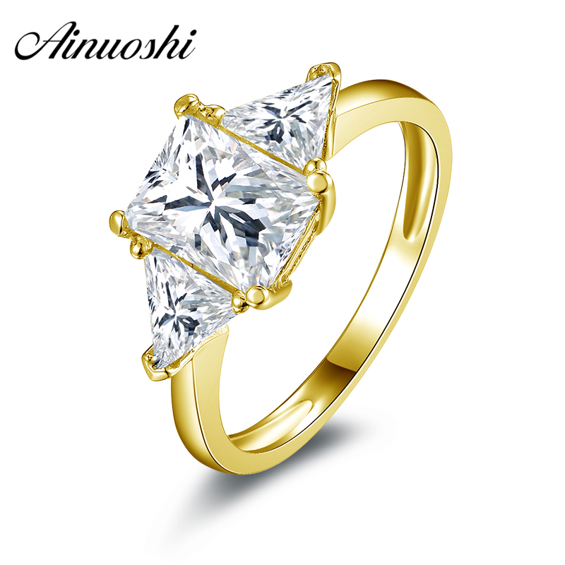 AINUOSHI 10k Solid Yellow Gold Wedding Ring Rectangle 1.5 ct Simulated Diamond Anillos Mujer Engagement for Lady Wedding RingsAINUOSHI 10k Solid Yellow Gold Wedding Ring Rectangle 1.5 ct Simulated Diamond Anillos Mujer Engagement for Lady Wedding Rings
