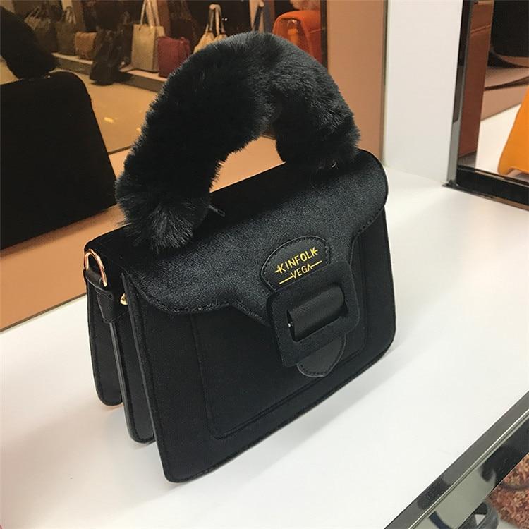 17 Christmas limited velvet suede handbag Samantha Vega plush handle organ shoulder bag Retro small flap square Messenger bag 21