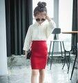 Autumn Winter Girl Skirt Kids Elastic Waist Knit Skirt Fashion Girl Costume Red/Black 2 Colors