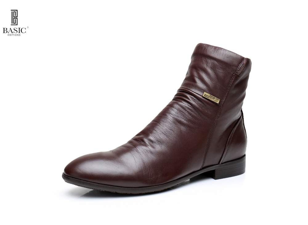 Basic Anywear Men s Casual Side Zipper Western Styled Ankle Boots R9256 01 B841