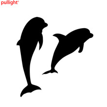 14.4*15CM Double Dolphin Vinyl Car Stickers Cute Cartoon Fish Window Decorative Decal Car Accessories wholesale 10pcs lot 20pcs lot 2x low new mk7 fiesta lowered car outline car stickers cartoon oem car window car body vinyl decal