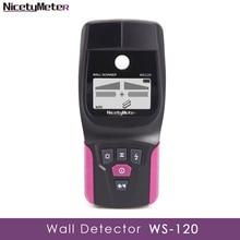 Nicetymeter WS-120 Handheld Multifunction Wall Detector Metal Wood Cable Wire Stud PVC Pipe Finder Scanner LED DIY WS120 Tester bside fwt11 handheld multifunction net cable tester