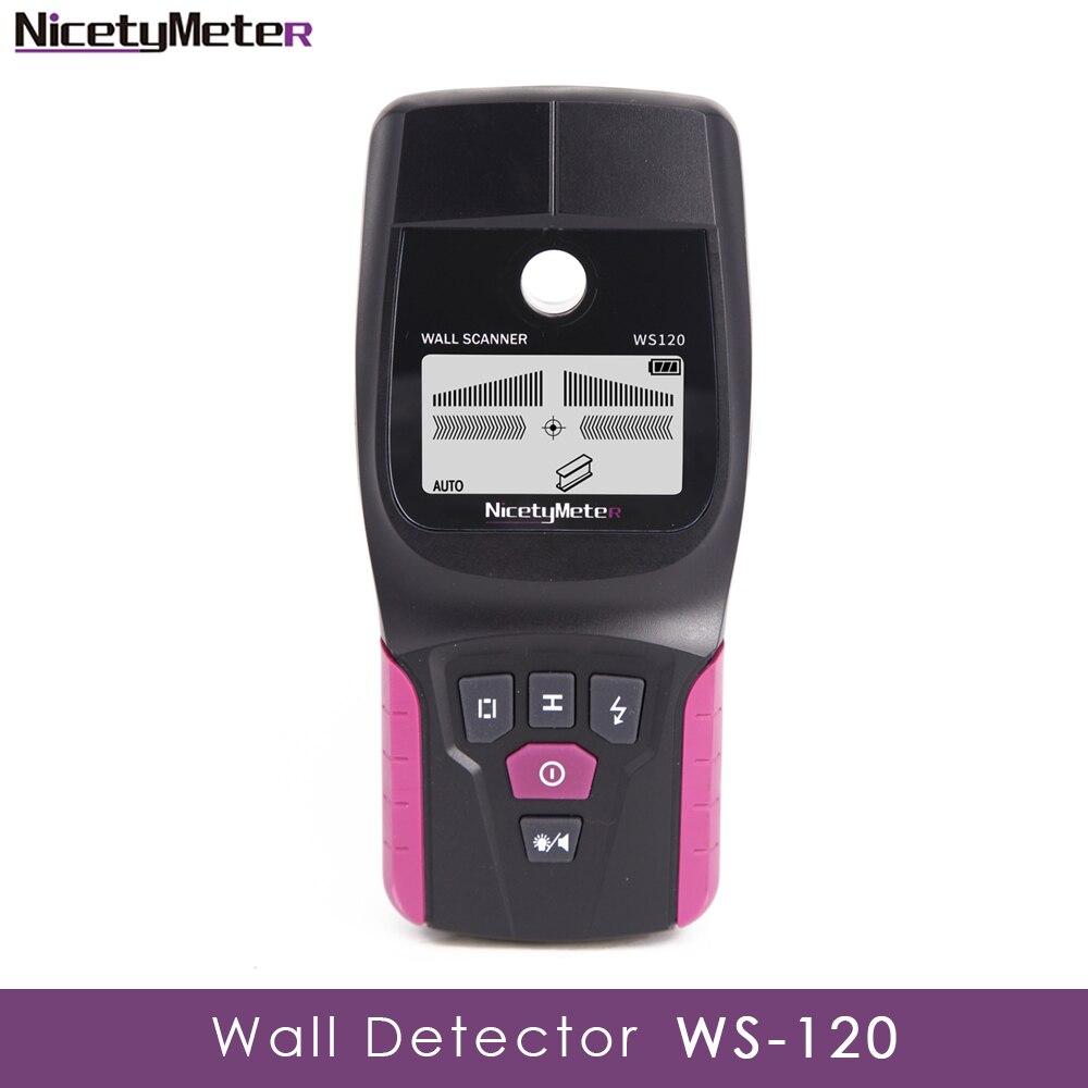 Nicetymeter WS-120 détecteur mural multifonction de poche en métal câble en bois fil goujon PVC détecteur de tuyau Scanner LED bricolage WS120 testeur