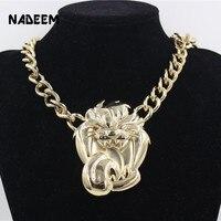 2017 Newest Men's Hip Hop Gold Color Pendant Necklace Jewelry Vintage Punk Design Big Roaring Lion Head Pendant Chain Necklace