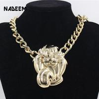 2017 Newest Men S Hip Hop Gold Color Pendant Necklace Jewelry Vintage Punk Design Big Roaring