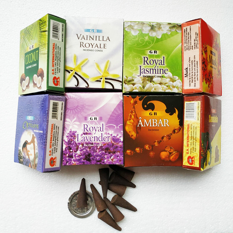 1 Box Indian Incense Cones Natural Lavender Rose Jasmine Opium Tower Incenses 13 Scents For Home Buddhist 9 Pcs Cone Incense