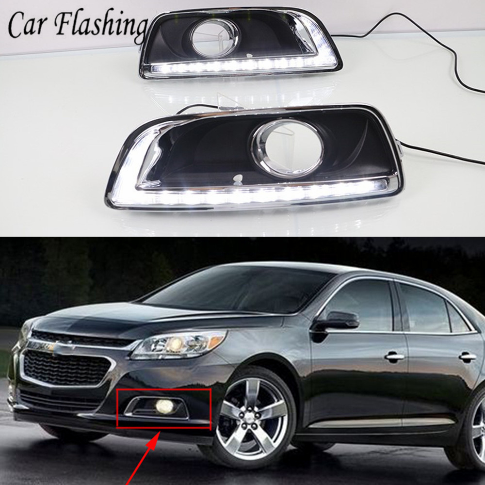DRL For Chevrolet Malibu 2012 2013 2014 2015 Daytime Running Lights fog lamp cover headlight 12V