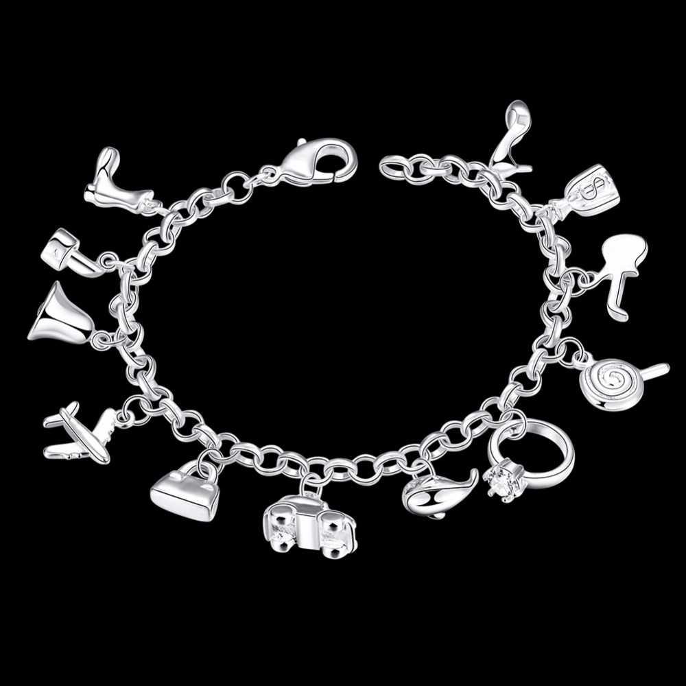 צמידים יפים 925 כסף סטרלינג AAA זירקון קריסטל צמידי 12 תליוני קסמי צמידי עבור אישה חדש תכשיטים