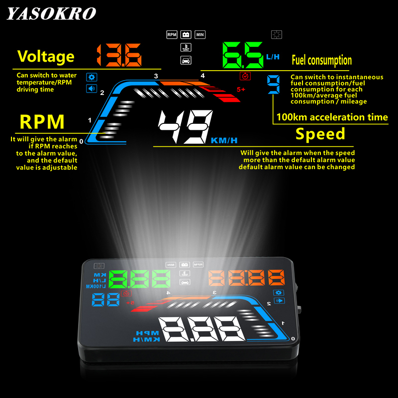 5.5'' OBDII Car HUD OBD2 Port Head Up Display Q700 Car Speedometer Windshield Projector Over Speed Voltage Alarm Car Accesories 5 5 obdii car hud obd2 port head up display q700 car speedometer windshield projector over speed voltage alarm car accesories