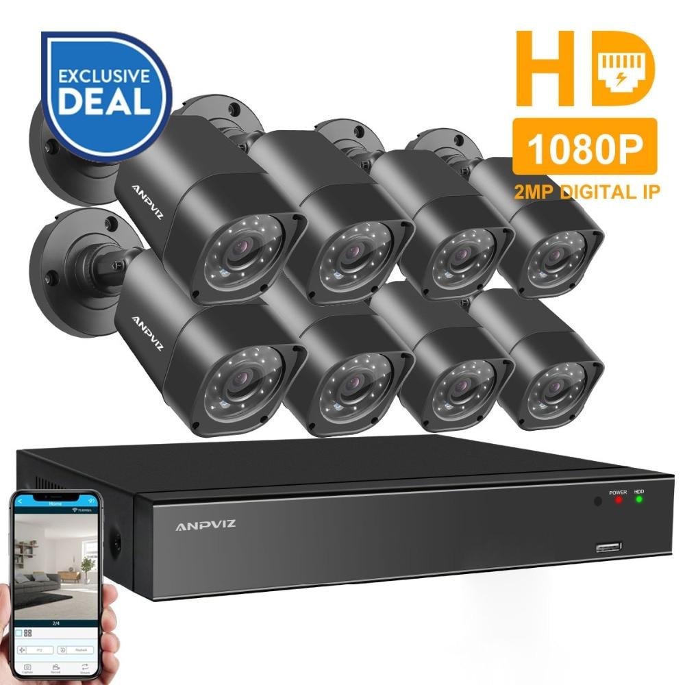 Anpviz 8CH 1080 p HDMI POE NVR Kit CCTV Caméra Système 2MP Extérieure de Sécurité IP Caméra P2P Vidéo Surveillance Système ensemble HDD Option