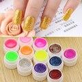 Новое прибытие 12 Смешанных Цветов Блеск Акриловые УФ Гель Строителя для Nail Art Ложные Советы Комплект