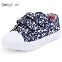 KushyShoo dziecięce buty na dziewczynę płótno dziecięce kwiaty do wpięcia trampki 2019 chłopięce buty granatowe dziecięce chłopięce brezentowe buty Tenis Infantil w Trampki od Matka i dzieci na