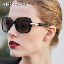 Gafas de sol polarizadas de acetato para mujer, anteojos de sol femeninos con diamantes de imitación, de marca de alta calidad, gafas de conducción, 2019