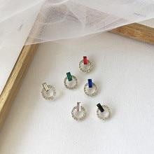 Korean Simple Geometric Round Circle Rhinestone Woman Girls Stud Earrings Fashion Jewelry Holiday-KQQE