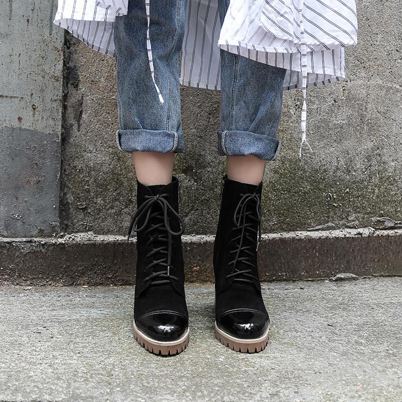 Compensées Bimolter Chaussures Vache Carrés À Noir En Femme Semelles Bottines Lacets Automne Nouvelle Daim De Véritable Bottes Talons Mode Cuir Black Nb005 xqOrgx