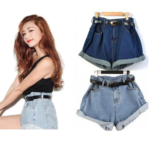 2016 Women's Loose shorts plus size With Sashes Belt summer spring Denim blue shortes femininos Skorts Girl High Waist Bottom