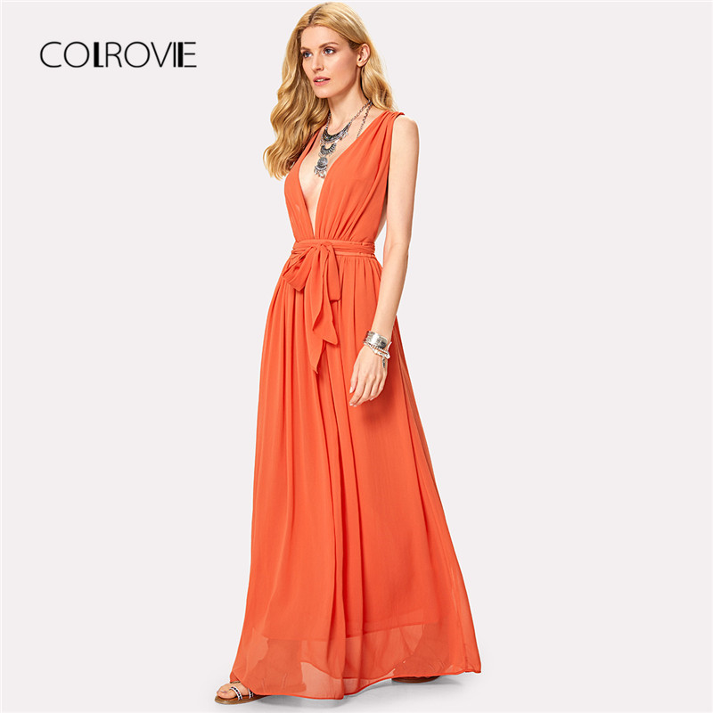 949746a3f2e COLROVIE Plunging V Neckline Tie Waist Maxi Dress Orange A Line Belted  Sleeveless Female Dress 2018 New Chiffon Dress-in Dresses from Women s  Clothing ...