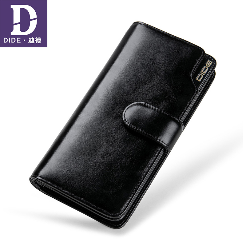 DIDE Business Casual Long Wallet Genuine Leather Unisex Wallets For Teenager Coin Purse Clutch Bag Card Holder Wallet Men/Women high quality 100% genuine leather women wallet ladies short wallets leather small wallet coin purse girl card holder clutch bag