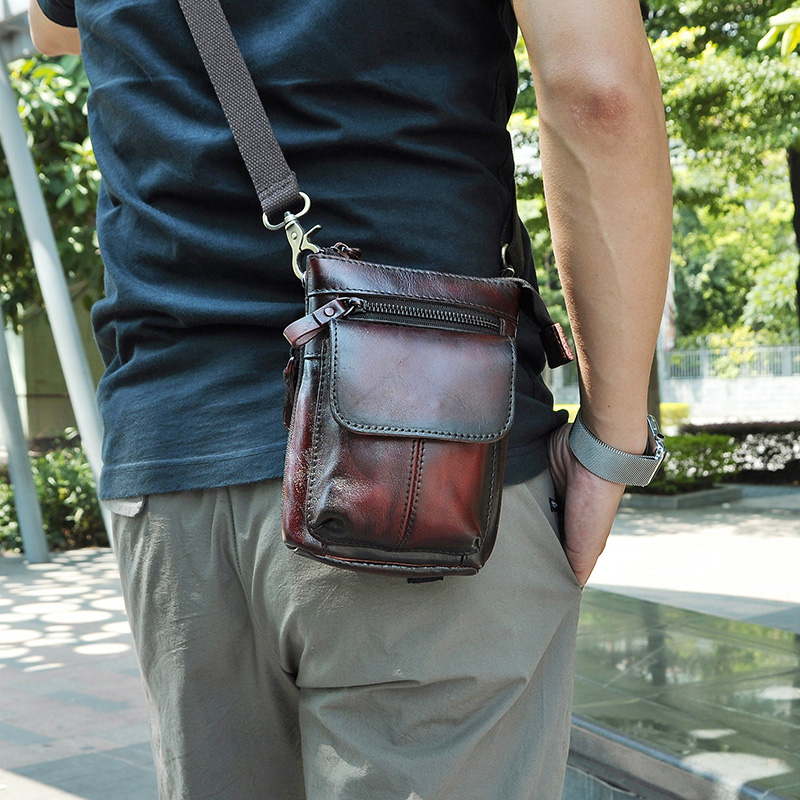 Real Leather Men Multifunction Design Small Crossbody Messenger One Shoulder Bag Fashion Waist Belt Bag Cigarette Case 611-18bu