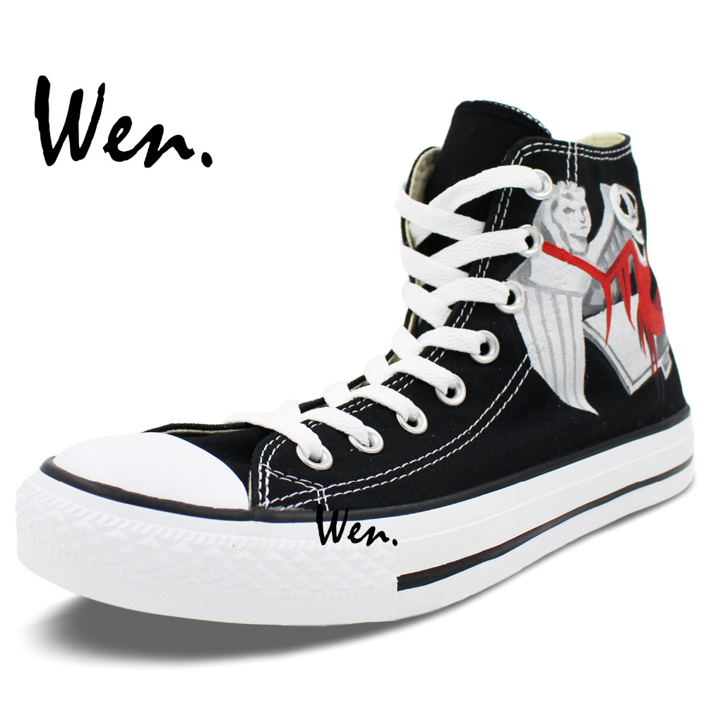 Wen Hand Pained Shoes Custom Design Sally Jack Skellington Nightmare Before  Christmas High Top Men Women s Canvas Shoes-in Men s Vulcanize Shoes from  Shoes ... f81be682d3fe