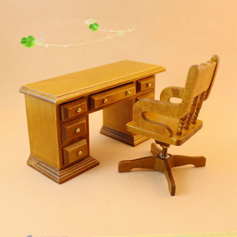 1 Set Dollhouse Miniature Furniture Wooden Toy 3d Diy Dolls House Assembly Furniture Toys Desk