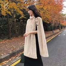 Imports From Denmark Mink Fur Cape Real Coats Shawl With Collar Genuine Poncho Warm Winter Fashion