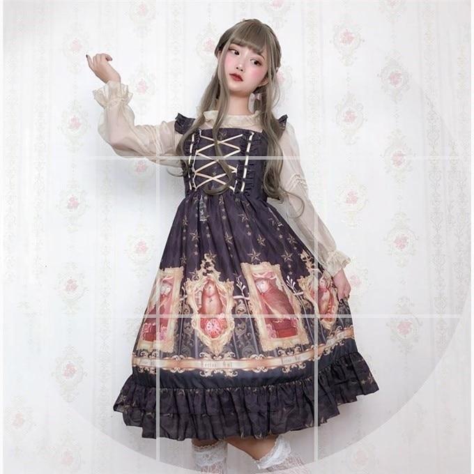 Original vintage impression douce lolita robe palais dentelle bowknot robe victorienne kawaii fille gothique lolita jsk cos lol - 2