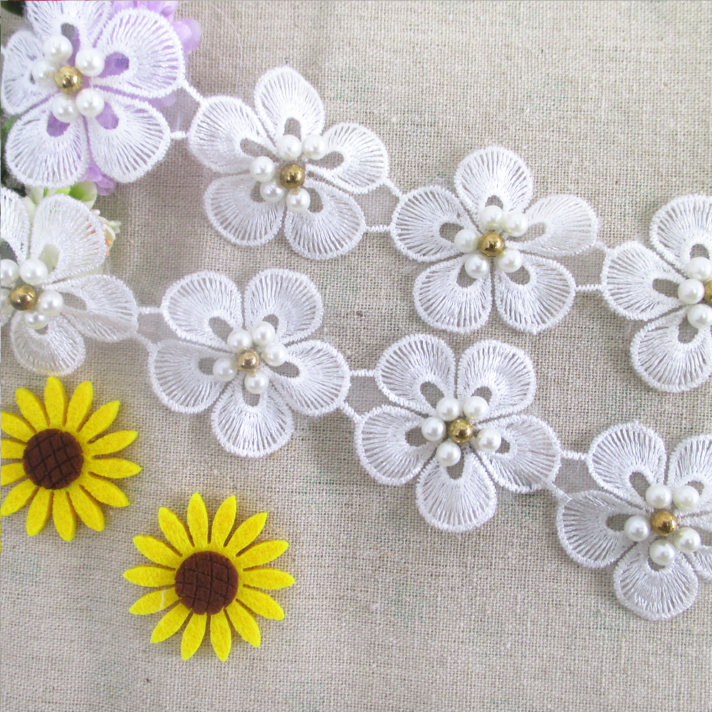 Fabric Flower Trim: Fiber Flower Lace Trim Pearl Embroidery Sewing Fabric