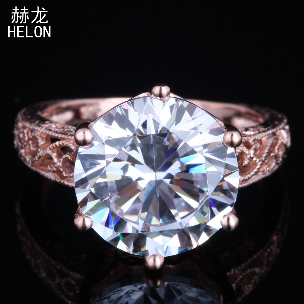 New Antique Fine Jewelry Genuine AAA Graded Cubic Zirconia Round 12mm Solitaire Sterling Silver 925 Engagement Ring wholesale