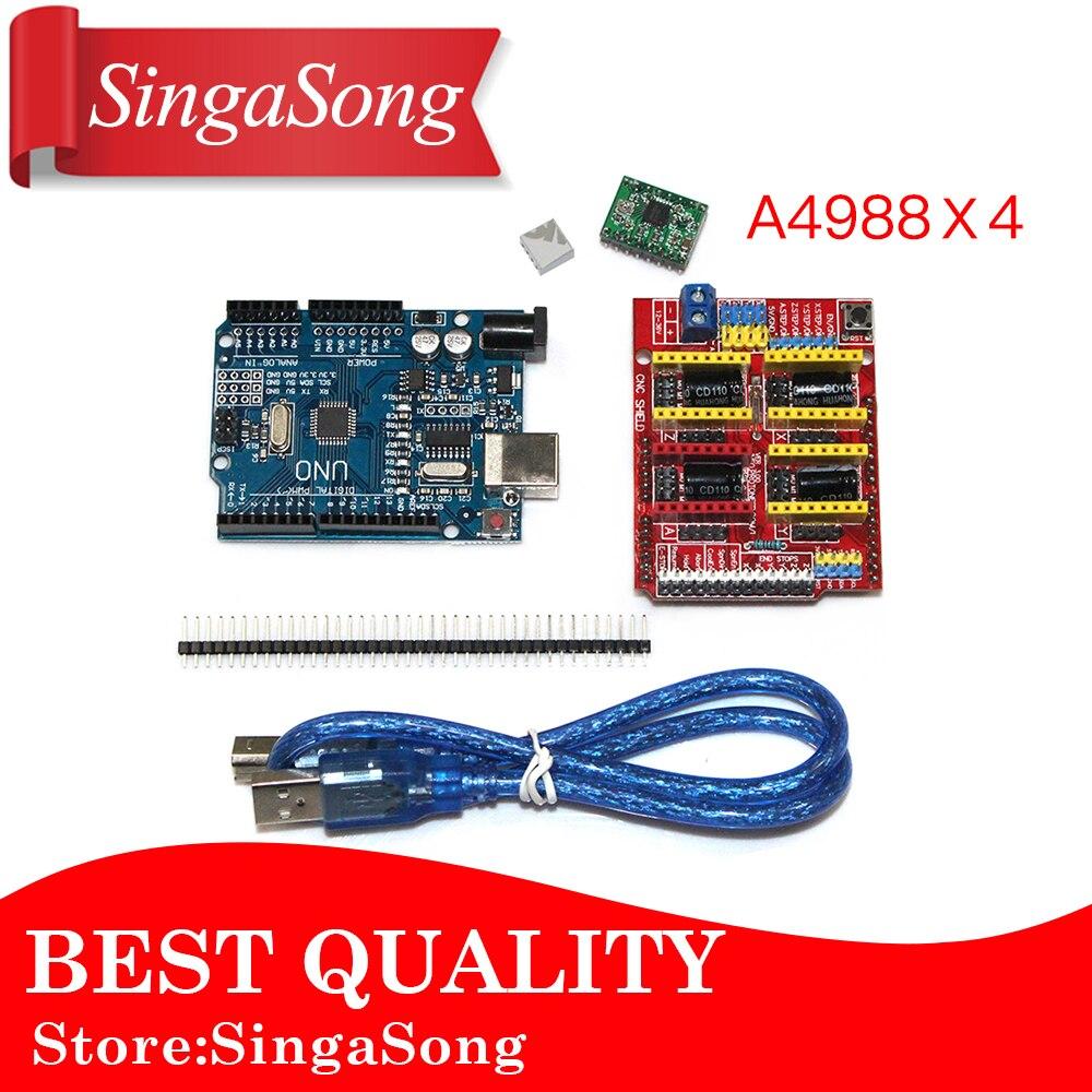 CNC escudo V3.0 + UNO R3 + 4 unids A4988 controlador motor módulo/GRBL para Arduino 3D impresora TE623