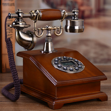 Antique telephone landline telephone household continental retro high-grade wood new phone ornaments retro telephone voip phone sip intercom for office business ip phone voip telephone portable