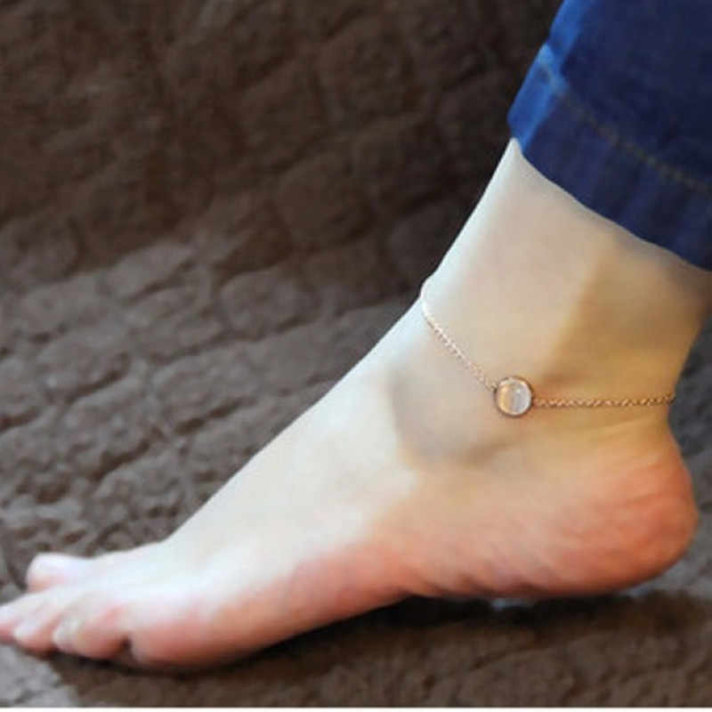 Fashion Bracelet On The Leg Rose Gold Color Vacuum Plating Stainless Steel Anklet With Opal Semi-Precious Stone Foot Jewelry