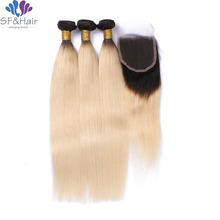 7A Ombre Brazilian Hair Straight With Closure 3 Bundles Ombre Closure With Bundles Ombre 1B 613 Brazilian Hair With Closure