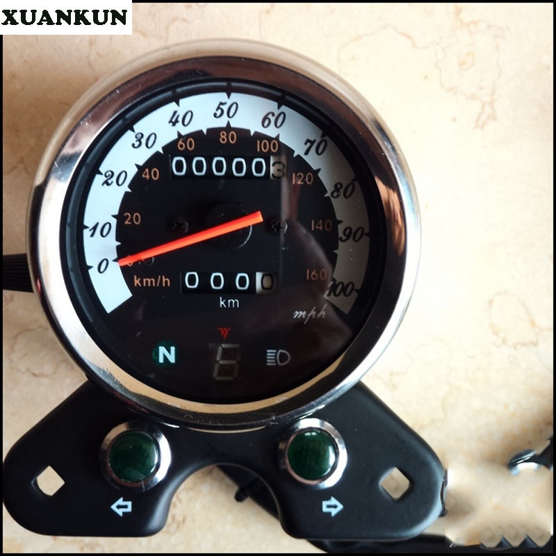 XUANKUN Cafe Racer Vintage Motorcycle GN Modified Instrument Odometer Watch With A Table original authentic japanese physical and chemical liquid crystal display smart table rh400 series fko2 m gn a fko2 v gn a