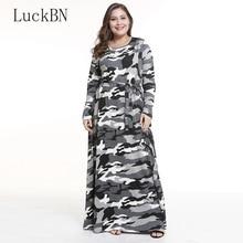 купить Brand New Large Size Dress Women Fashion Plus Size Maxi Long Dress Autumn Winter Dresses Female Camouflage Print Dress Vestidos по цене 988.65 рублей