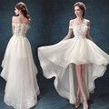 Don's Bridal 2016 Frente Há Muito Tempo Organza Fora Do Ombro Alta Baixa Vestido de Noiva vestido de Noiva Vestido De Noiva
