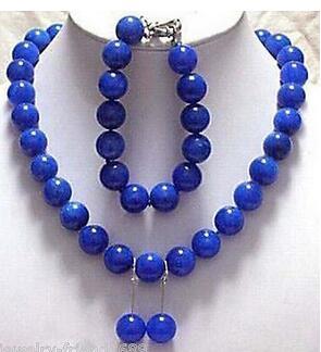 fine Lovely Wonderful word hot sell new - Jewelry genuine 10mm blue stone Necklace bracelet earring sets