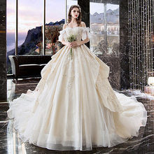 Luxury Wedding Dress 2019 Robe Mariee Pearl Embroidery Applique Patterns Bridal Gown Off Shoulder Long Tail Bridal Dress TS1244(China)
