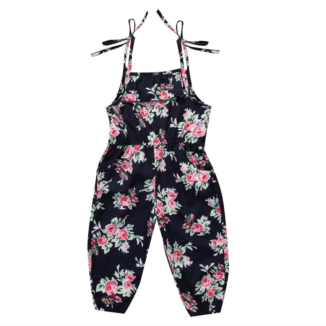 2017 Uk Newborn Baby Girl Cotton Floral Romper Jumpsuit Kids Sunsuit Clothes Elastic Waist Strap Loose Romper
